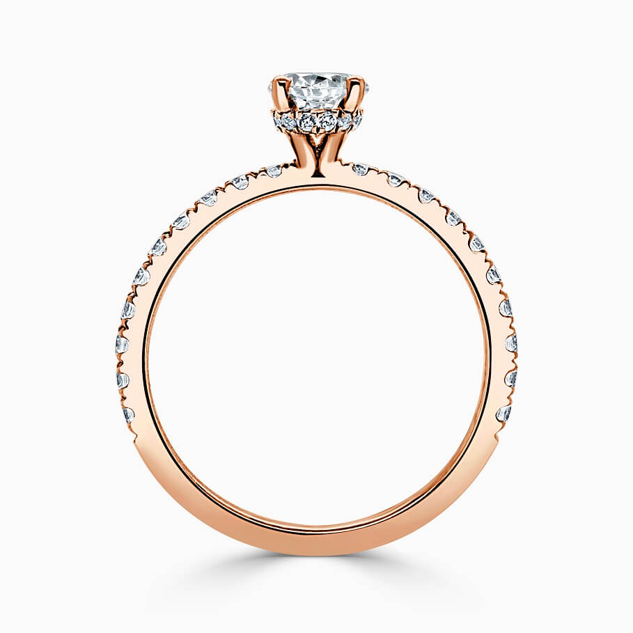 18ct Rose Gold Oval Shape Hidden Halo With Cutdown Engagement Ring