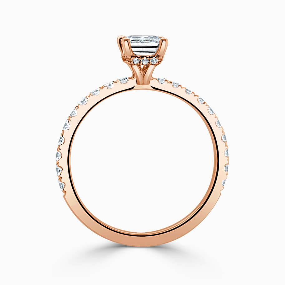 18ct Rose Gold Princess Cut Hidden Halo With Cutdown Engagement Ring