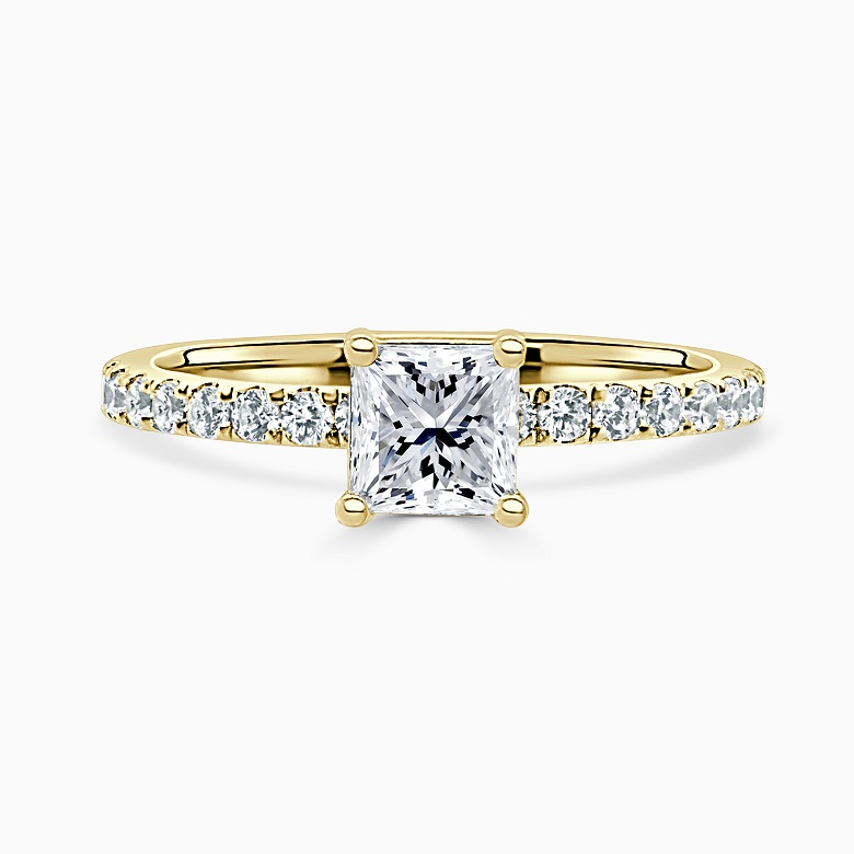 18ct Yellow Gold Princess Cut Hidden Halo With Cutdown Engagement Ring