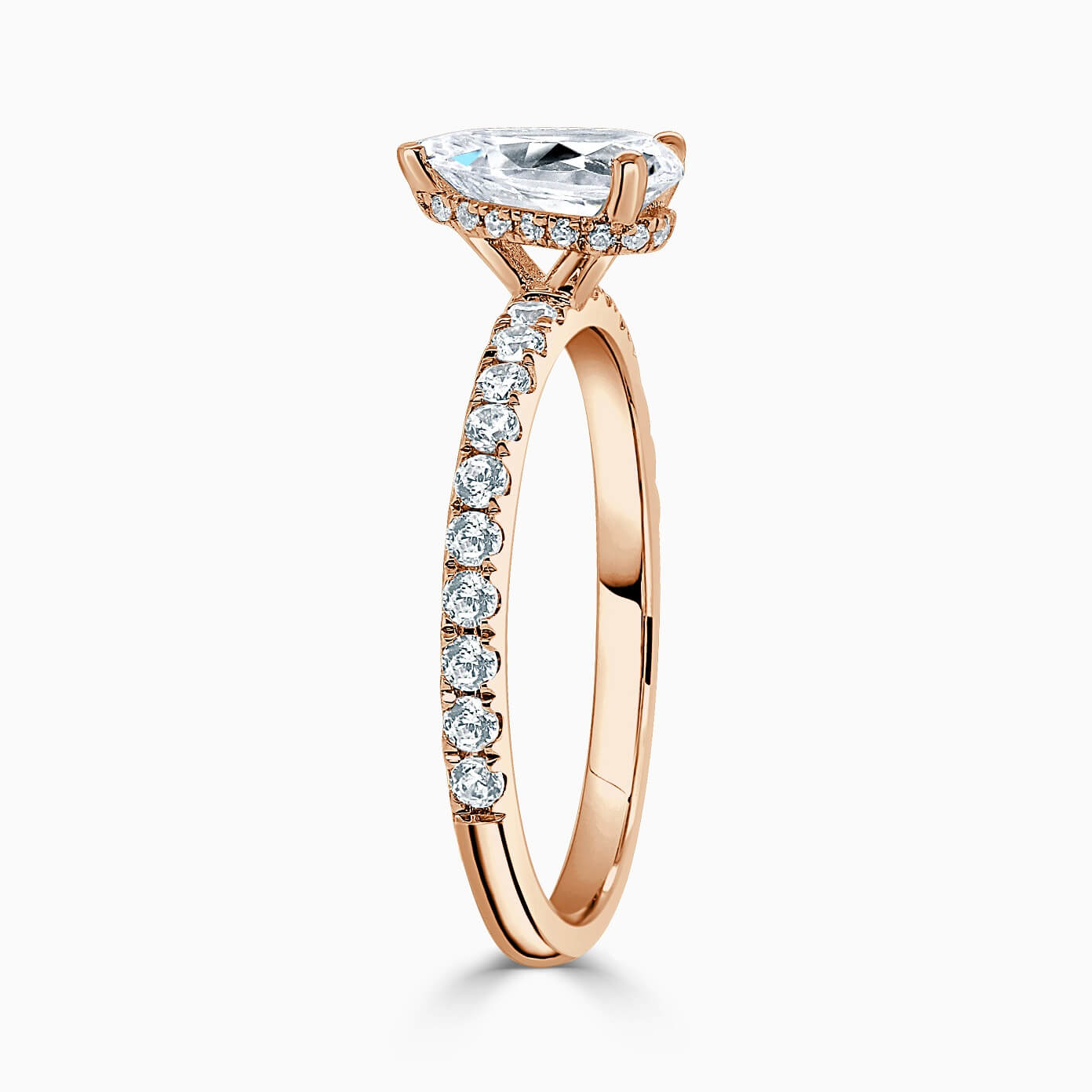 18ct Rose Gold Pear Shape Hidden Halo With Cutdown Engagement Ring