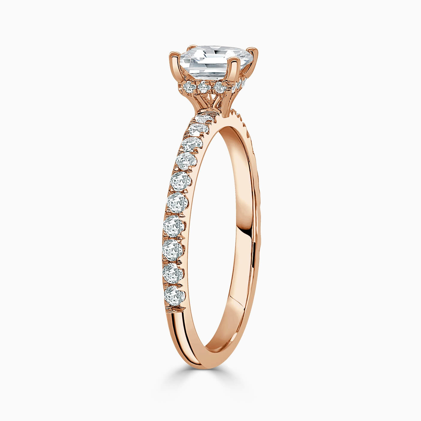 18ct Rose Gold Cushion Cut Hidden Halo With Cutdown Engagement Ring