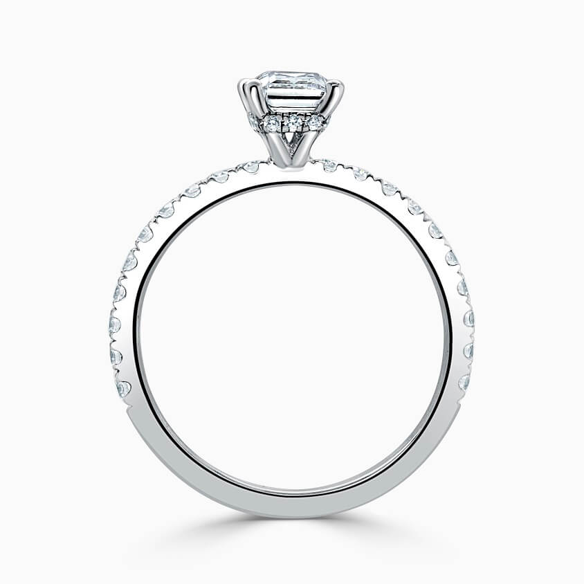 18ct White Gold Cushion Cut Hidden Halo With Cutdown Engagement Ring
