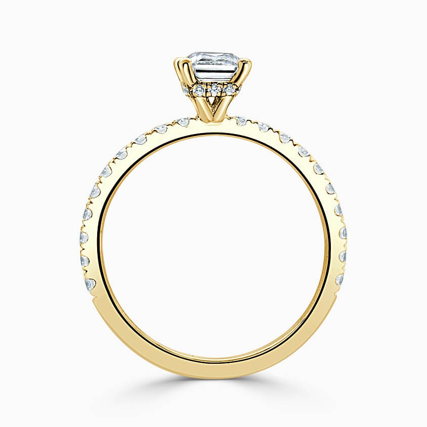18ct Yellow Gold Cushion Cut Hidden Halo With Cutdown Engagement Ring