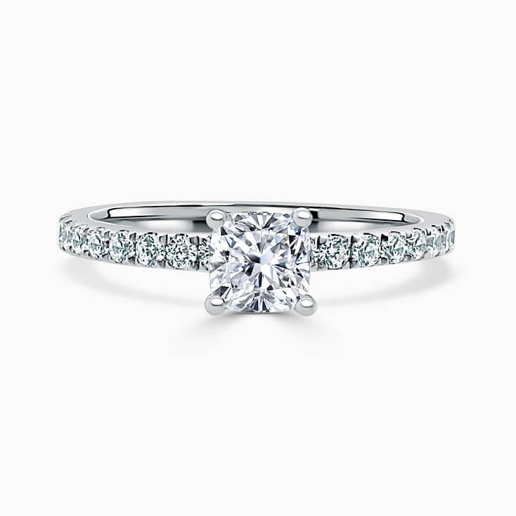 Platinum Cushion Cut Hidden Halo With Cutdown Engagement Ring