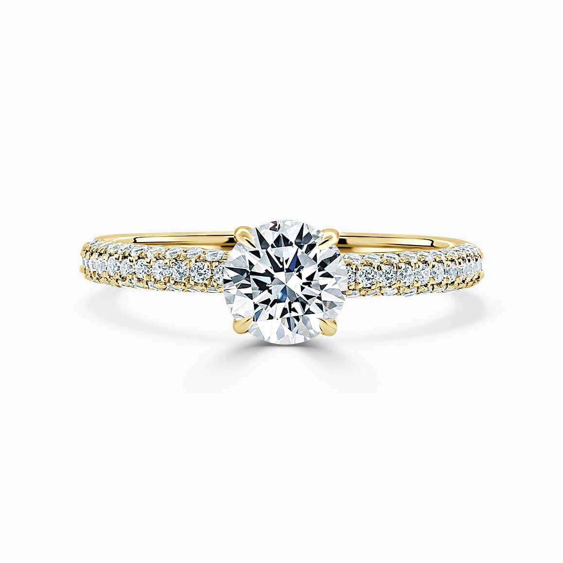 18ct Yellow Gold Round Brilliant With Micro Pave Engagement Ring
