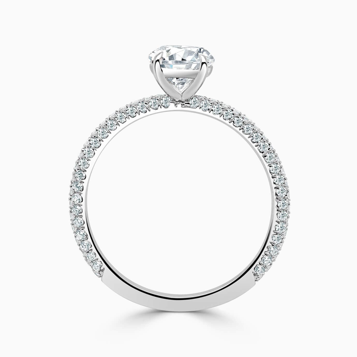 Platinum Round Brilliant With Micro Pave Engagement Ring