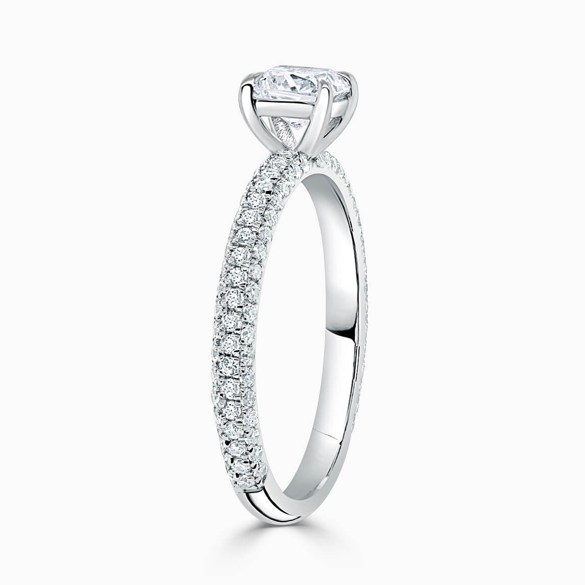 18ct White Gold Cushion Cut With Micro Pave Engagement Ring
