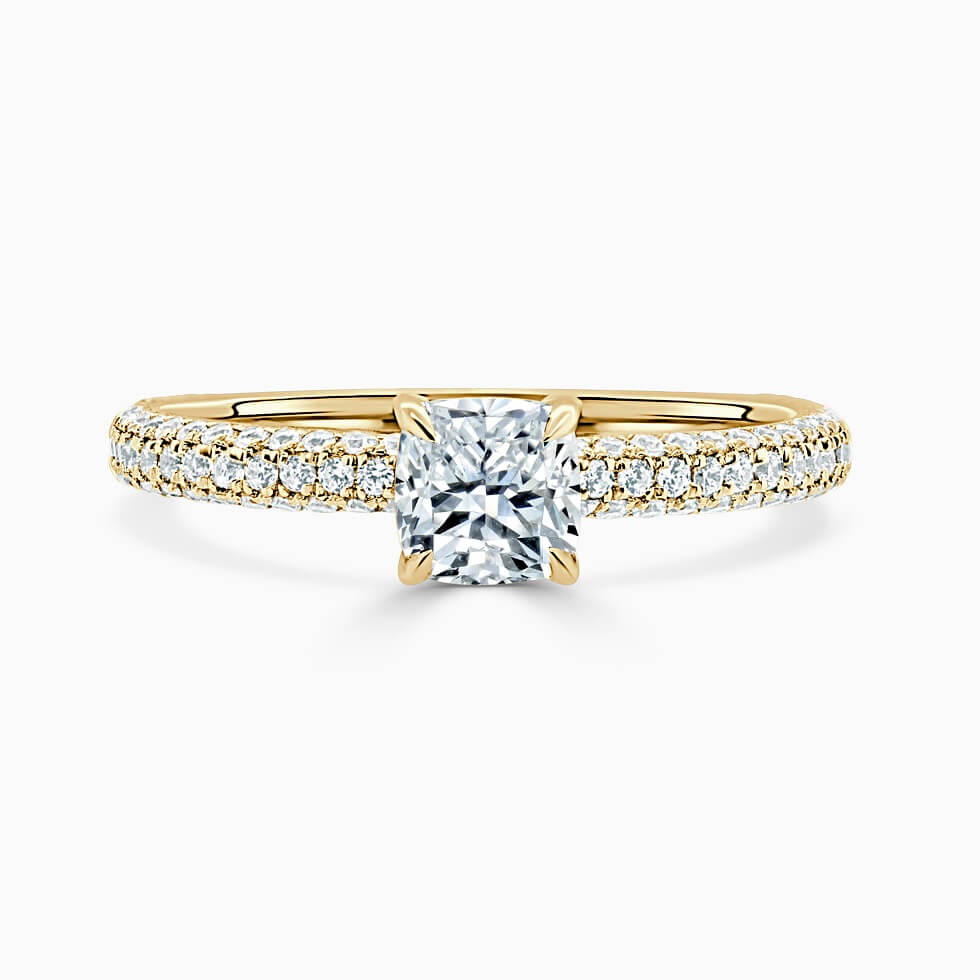 18ct Yellow Gold Cushion Cut With Micro Pave Engagement Ring