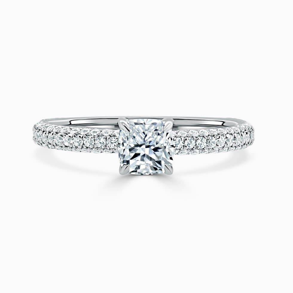 Platinum Cushion Cut With Micro Pave Engagement Ring