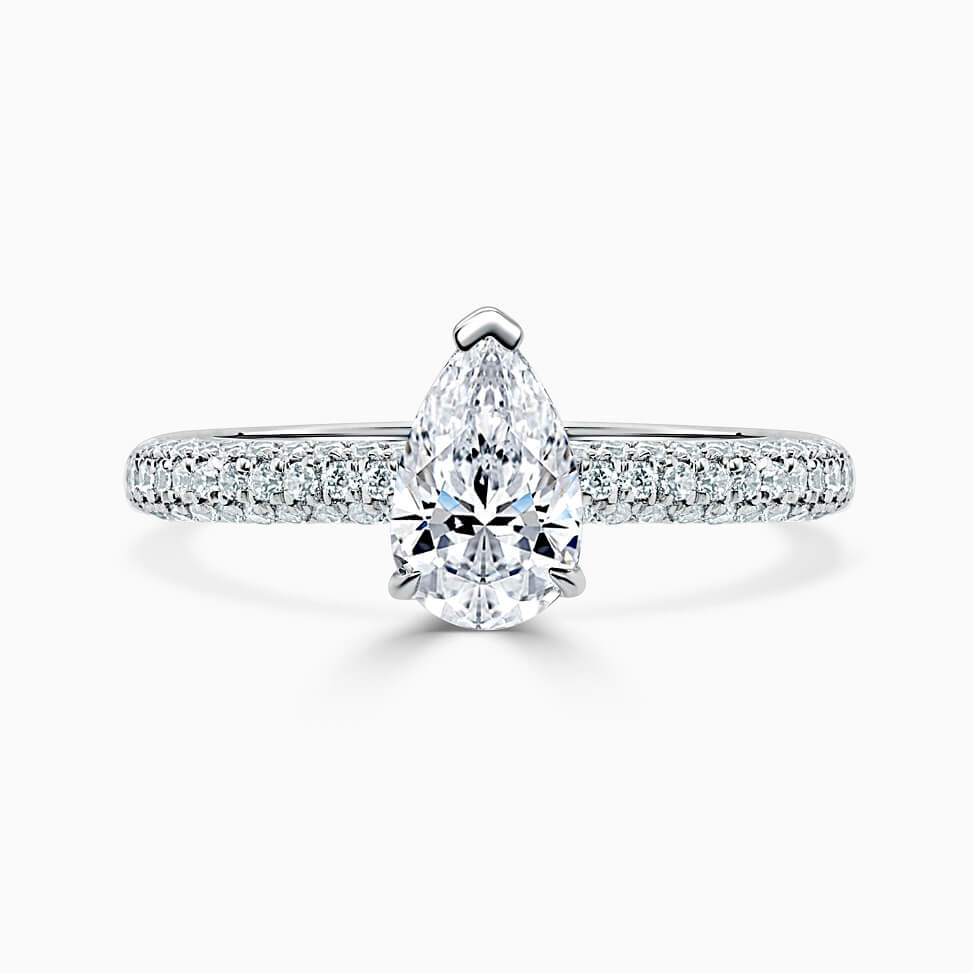 Platinum Pear Shape With Micro Pave Engagement Ring