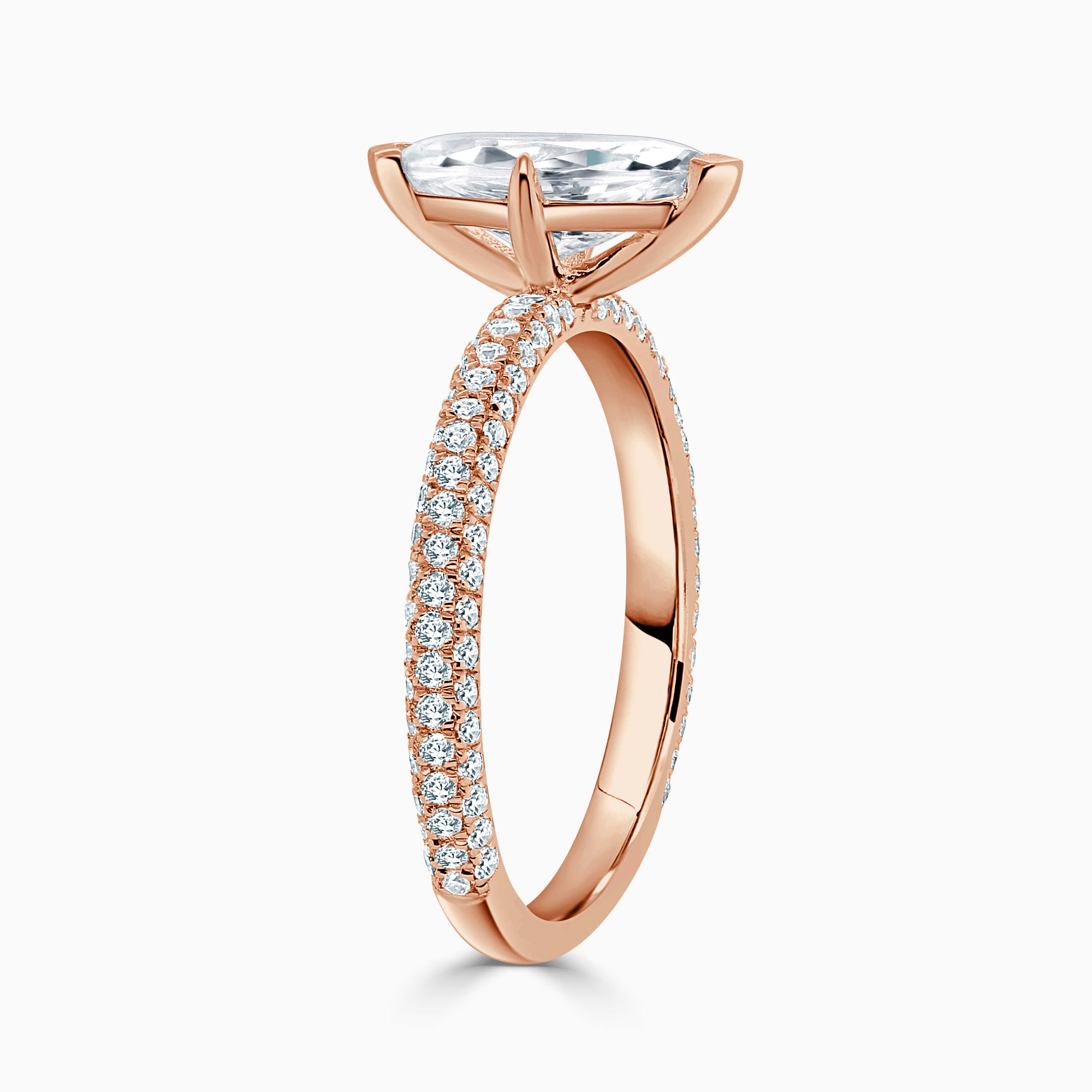 18ct Rose Gold Marquise Cut With Micro Pave Engagement Ring