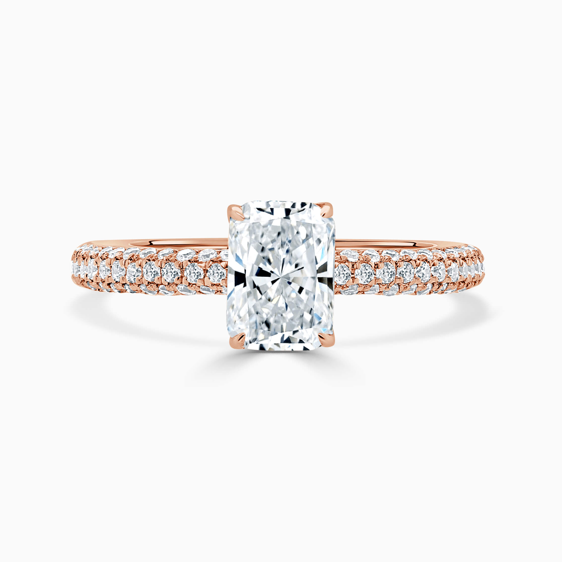 18ct Rose Gold Radiant Cut With Micro Pave Engagement Ring