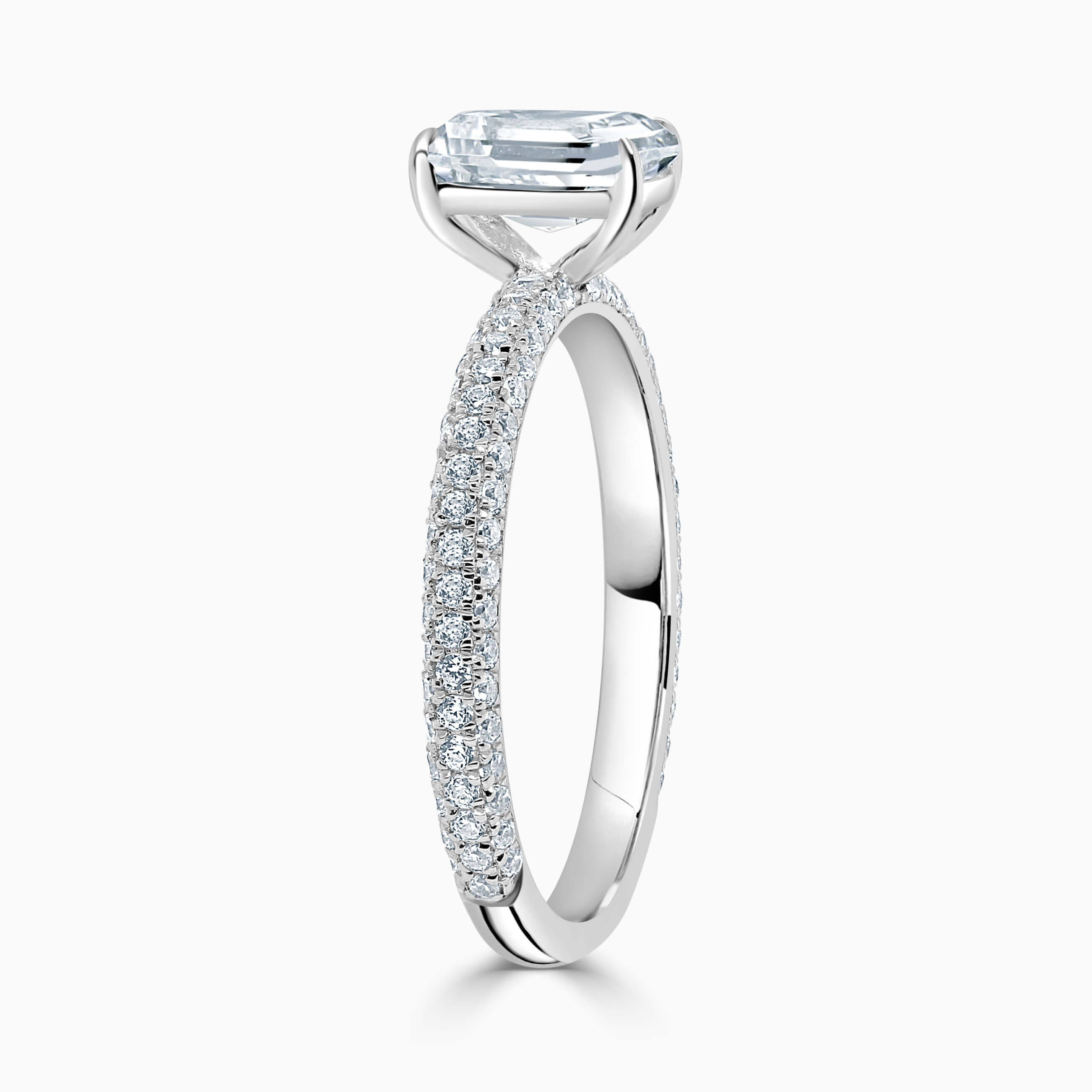 18ct White Gold Radiant Cut With Micro Pave Engagement Ring