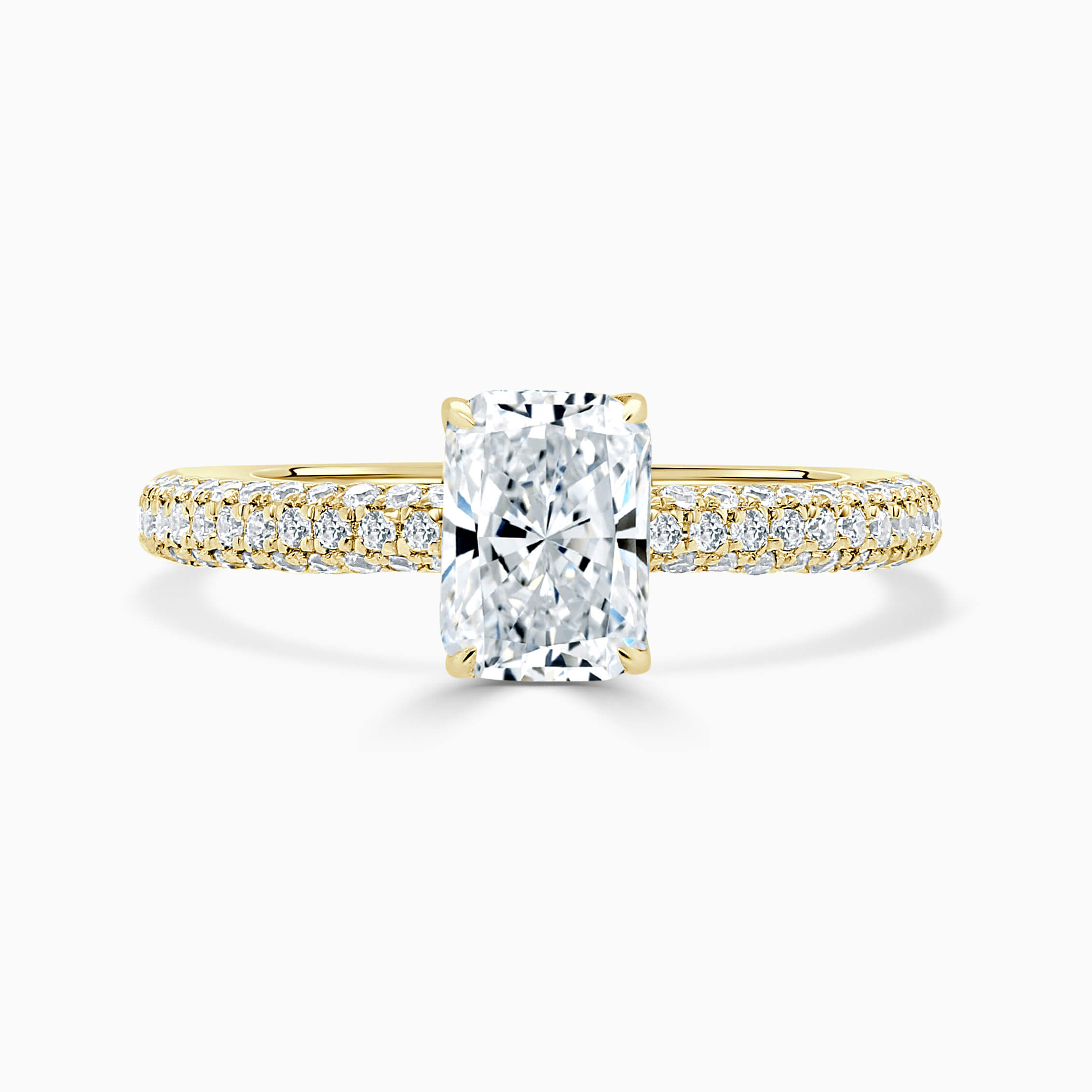 18ct Yellow Gold Radiant Cut With Micro Pave Engagement Ring