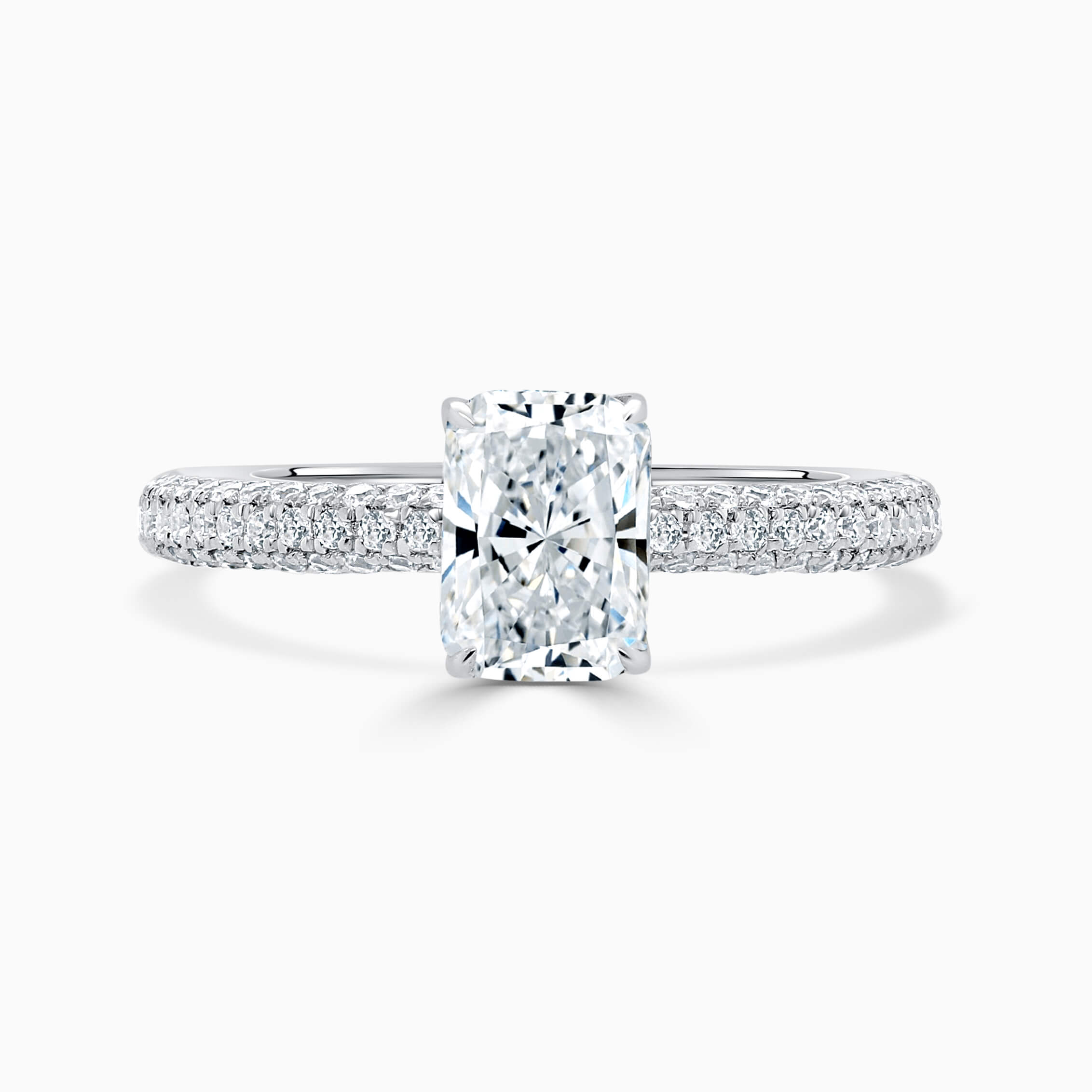 Platinum Radiant Cut With Micro Pave Engagement Ring