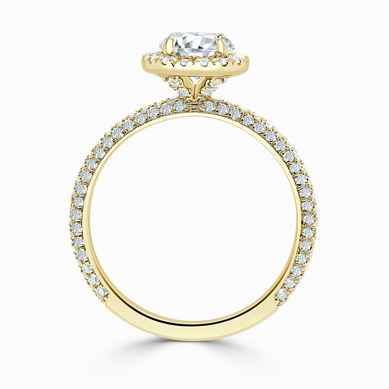 18ct Yellow Gold Round Brilliant Halo With Micro Pave Engagement Ring