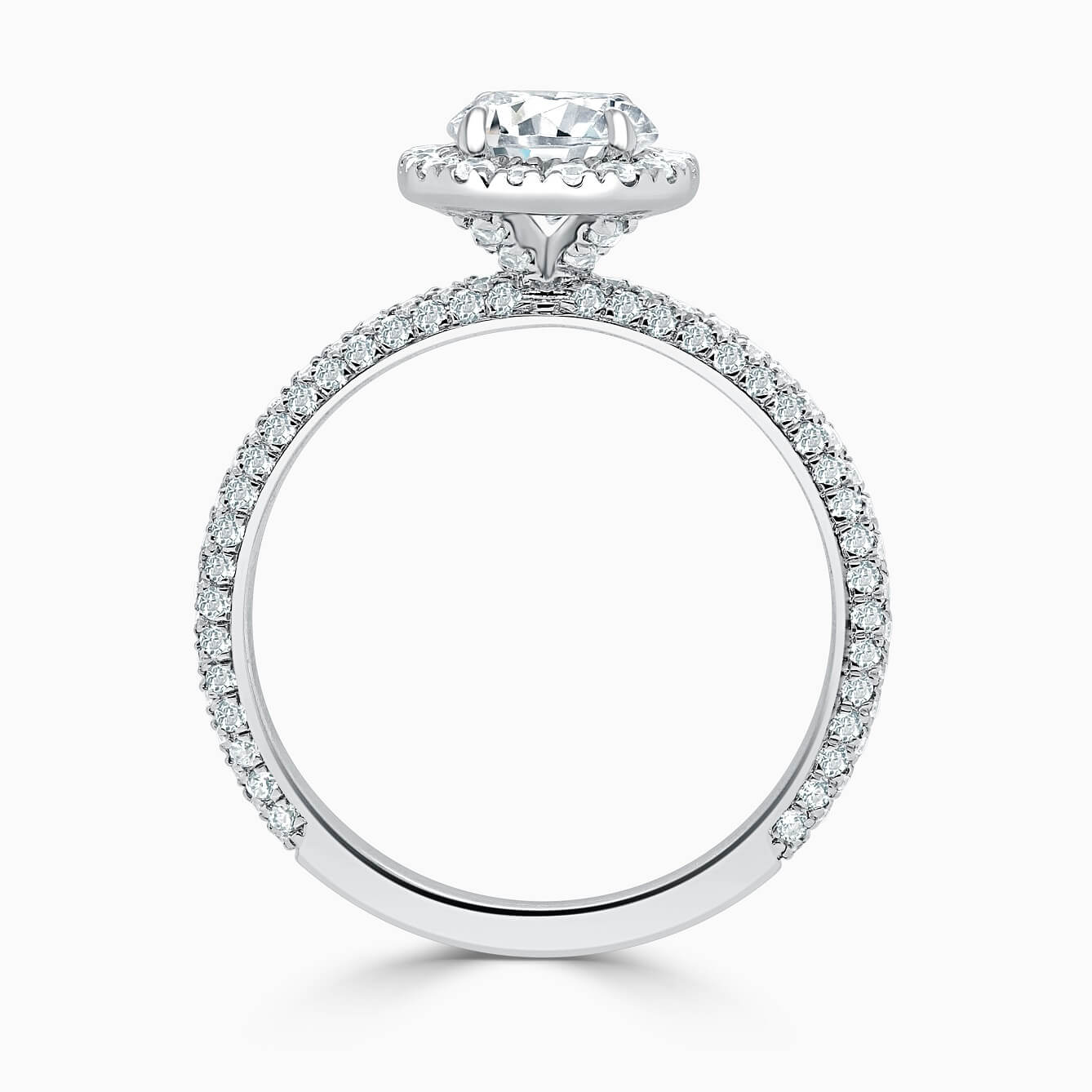 Platinum Round Brilliant Halo With Micro Pave Engagement Ring