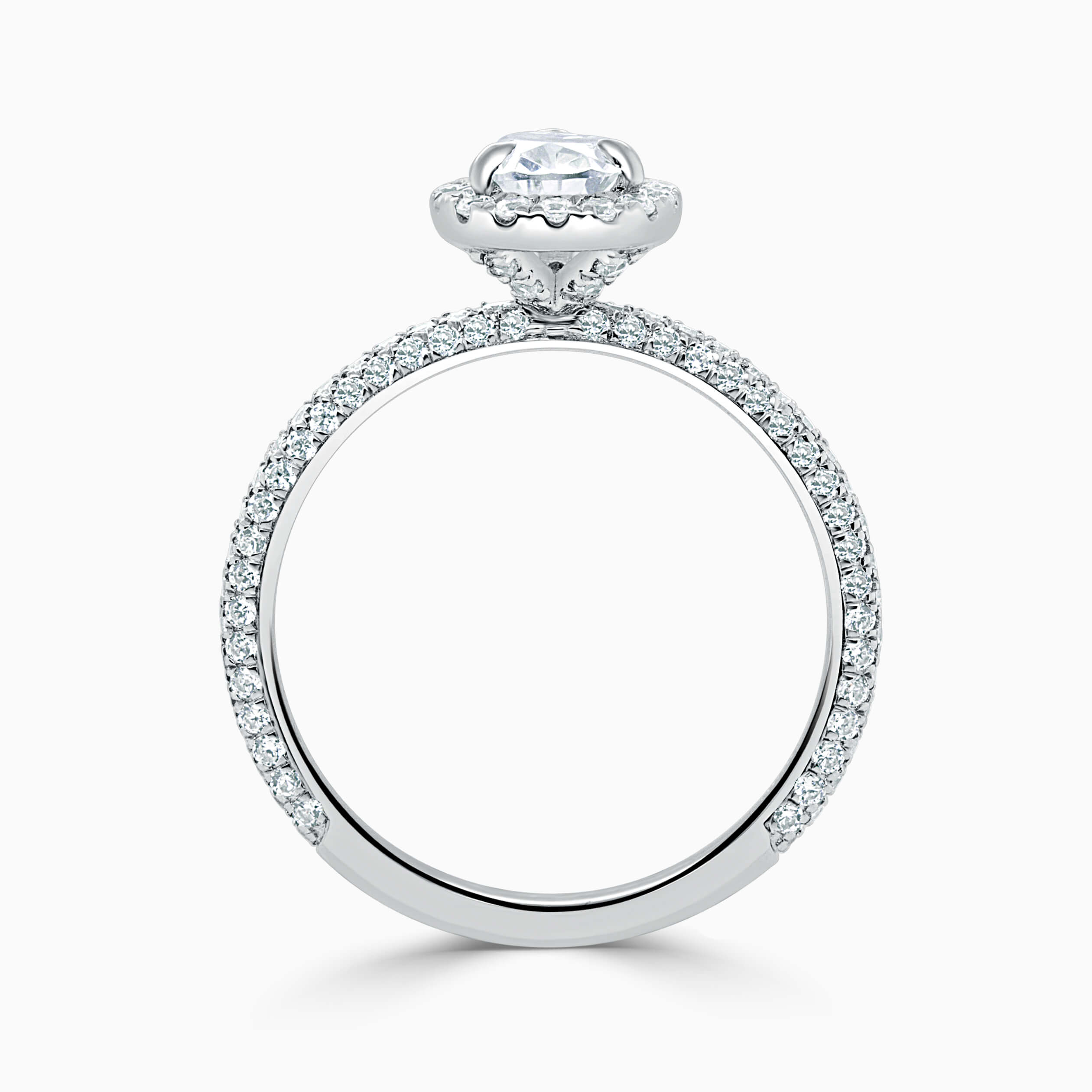 18ct White Gold Pear Shape Halo With Micro Pave Engagement Ring