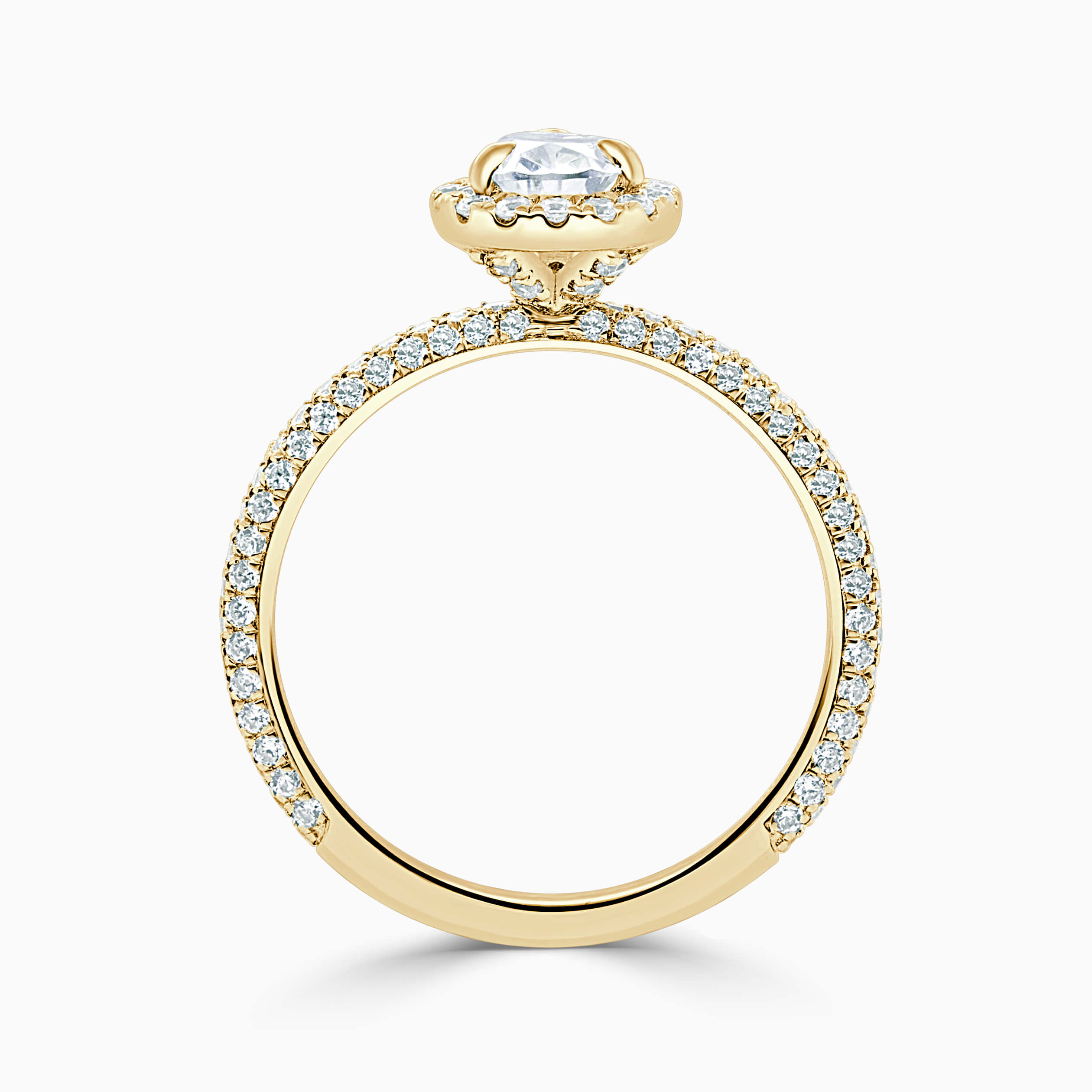 18ct Yellow Gold Pear Shape Halo With Micro Pave Engagement Ring