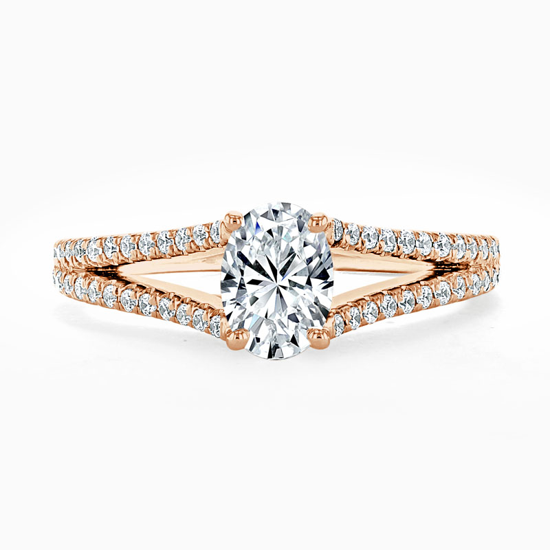 18ct Rose Gold Oval Shape Cutdown Split Shoulder Engagement Ring