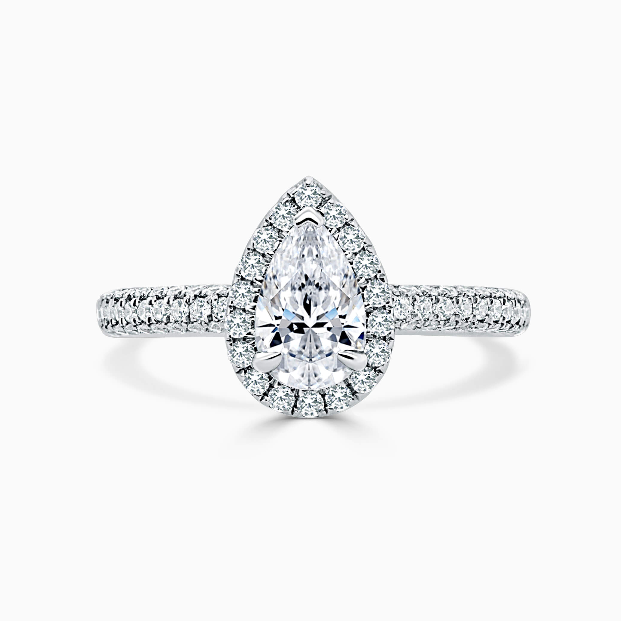 Platinum Pear Shape Halo With Micro Pave Engagement Ring