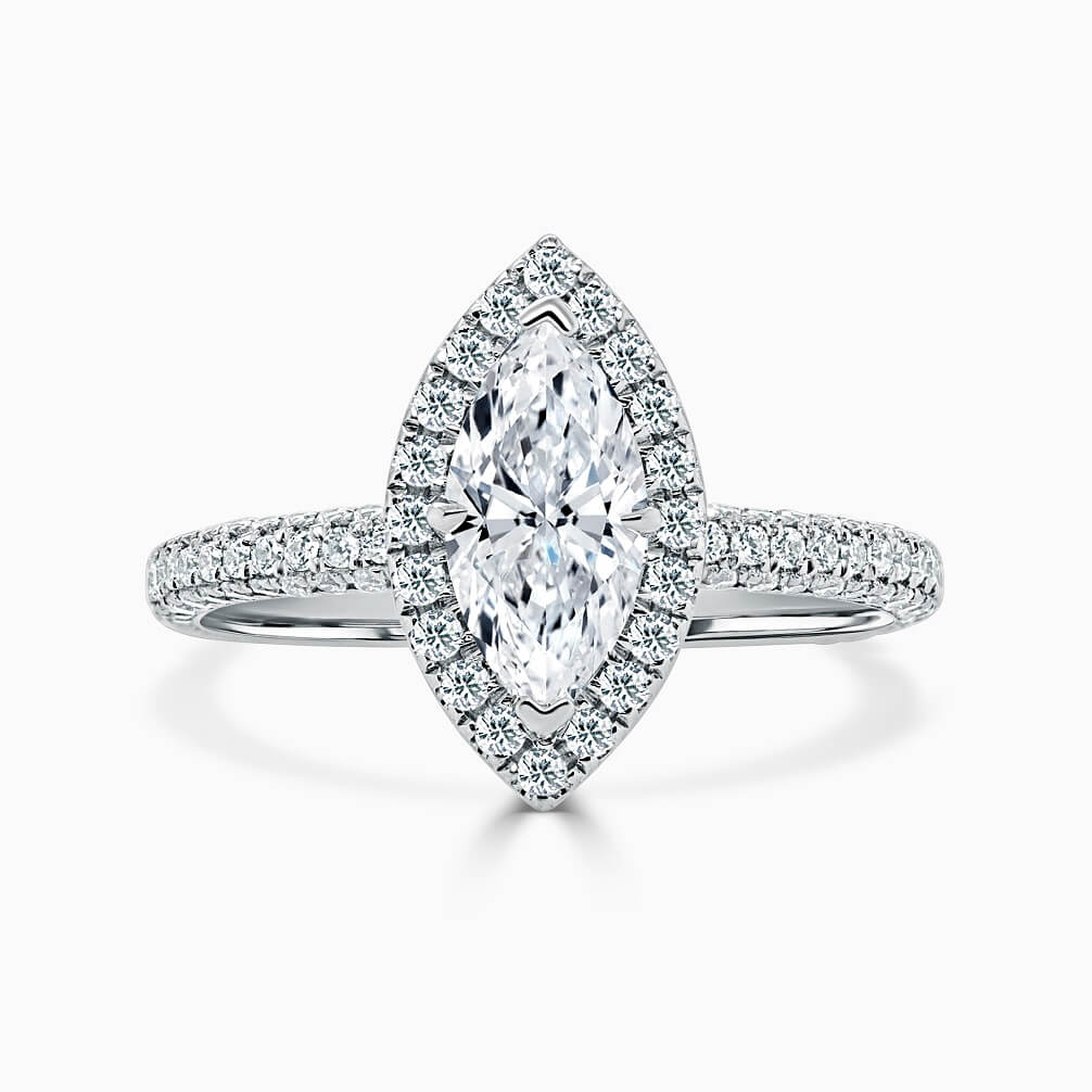 18ct White Gold Marquise Cut Halo With Micro Pave Engagement Ring
