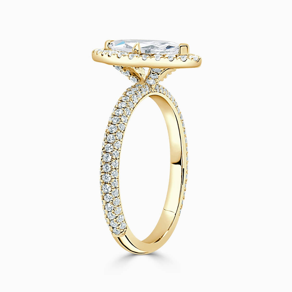 18ct Yellow Gold Marquise Cut Halo With Micro Pave Engagement Ring