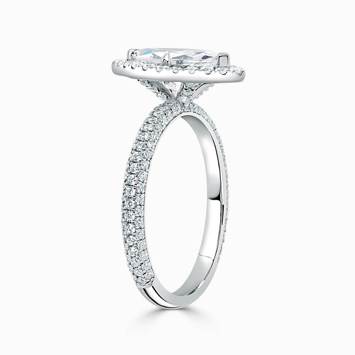Platinum Marquise Cut Halo With Micro Pave Engagement Ring