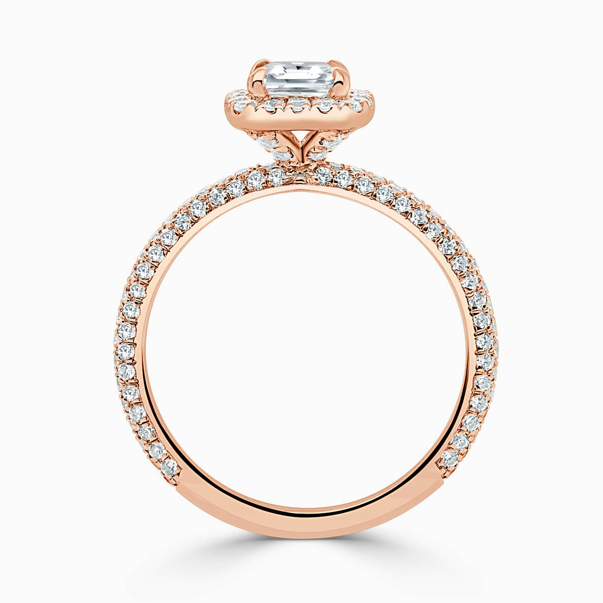 18ct Rose Gold Princess Cut Halo With Micro Pave Engagement Ring