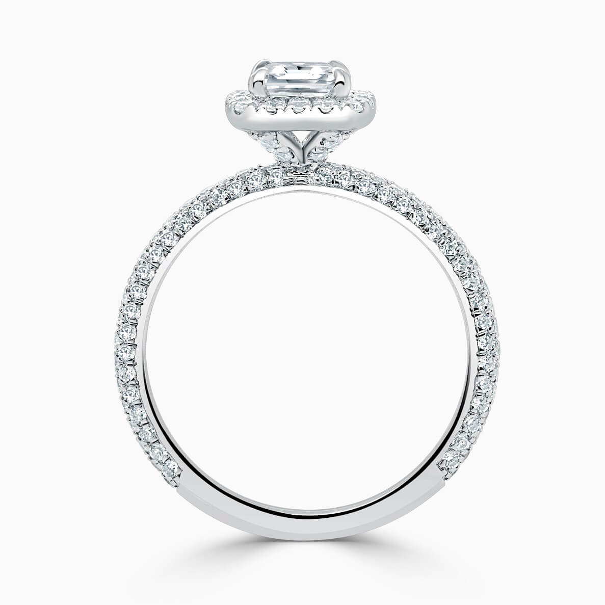 18ct White Gold Princess Cut Halo With Micro Pave Engagement Ring