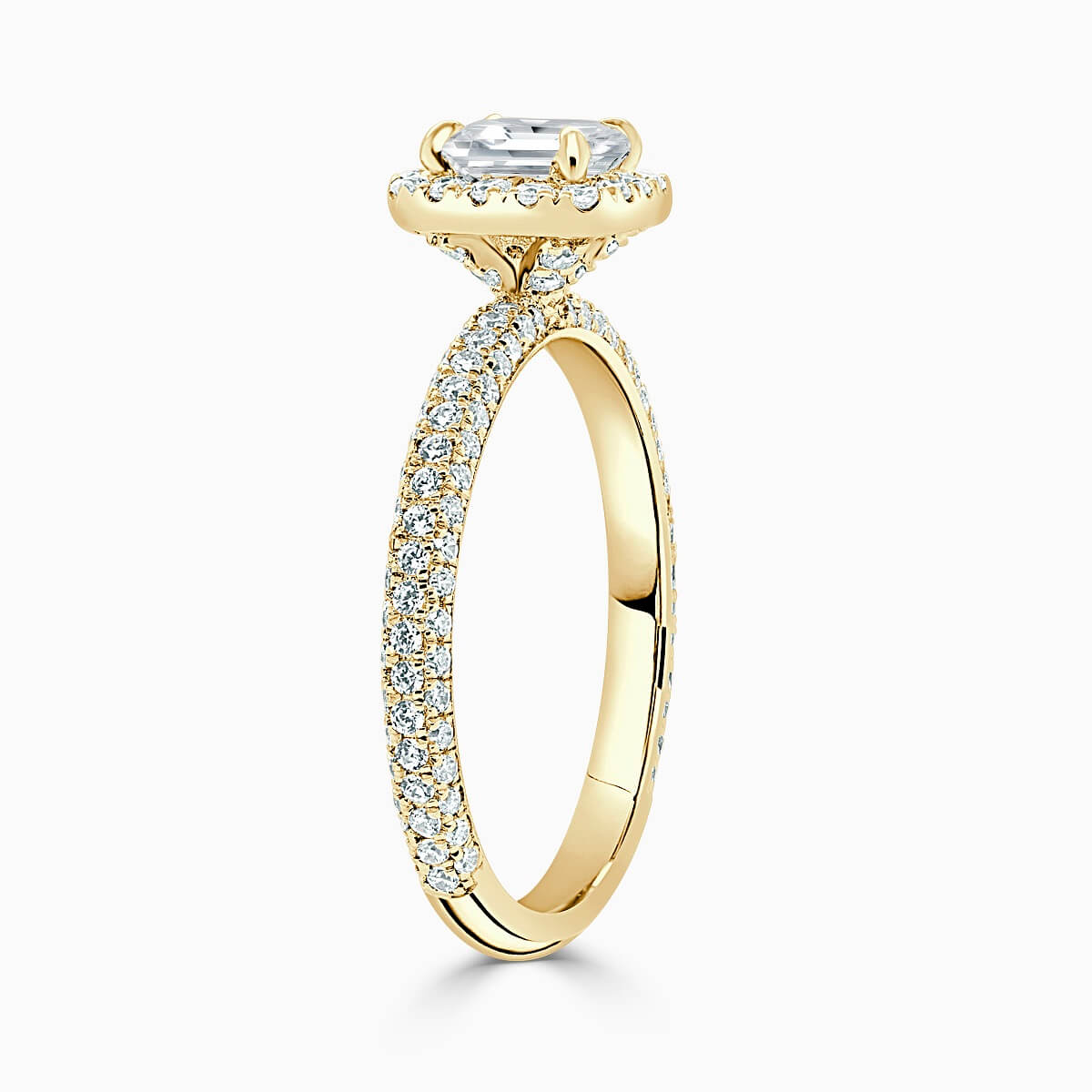 18ct Yellow Gold Princess Cut Halo With Micro Pave Engagement Ring
