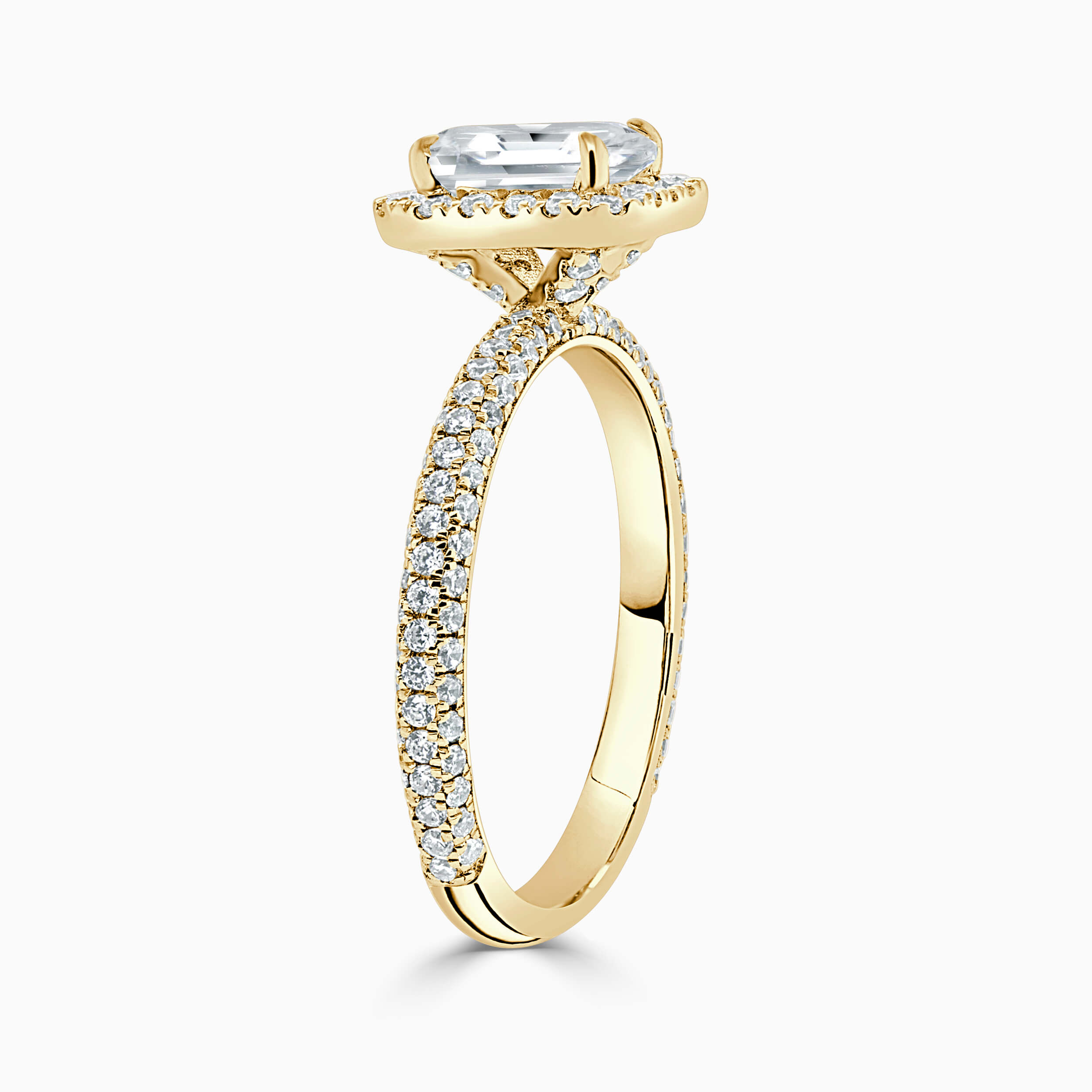 18ct Yellow Gold Radiant Cut Halo With Micro Pave Engagement Ring
