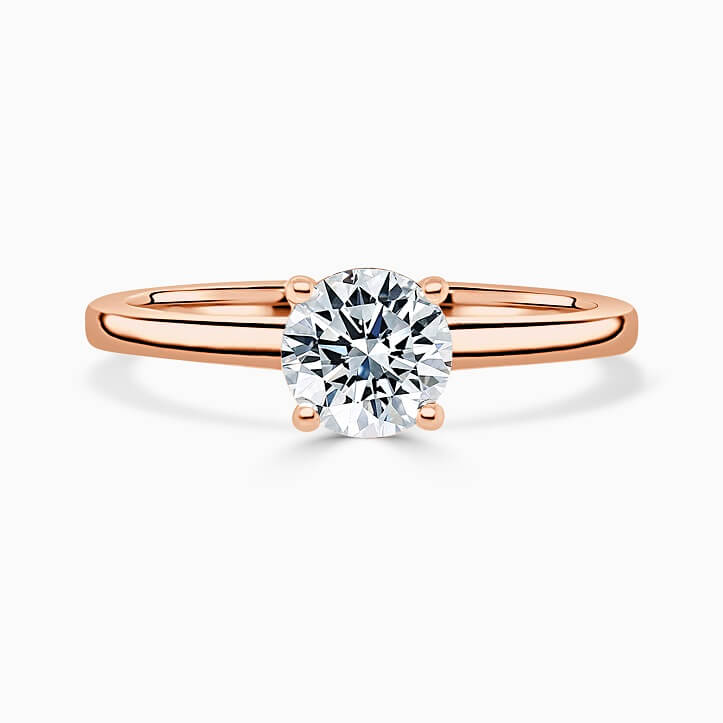 18ct Rose Gold Round Brilliant Hidden Halo Engagement Ring