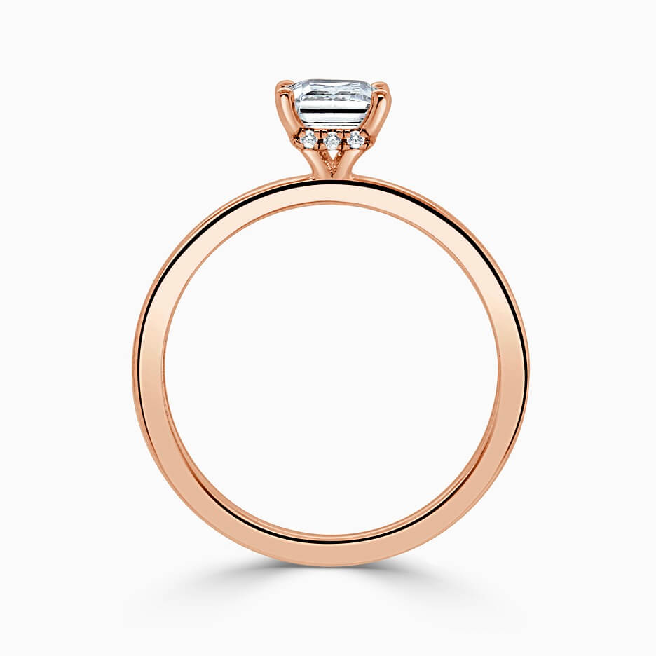 18ct Rose Gold Princess Cut Hidden Halo Engagement Ring