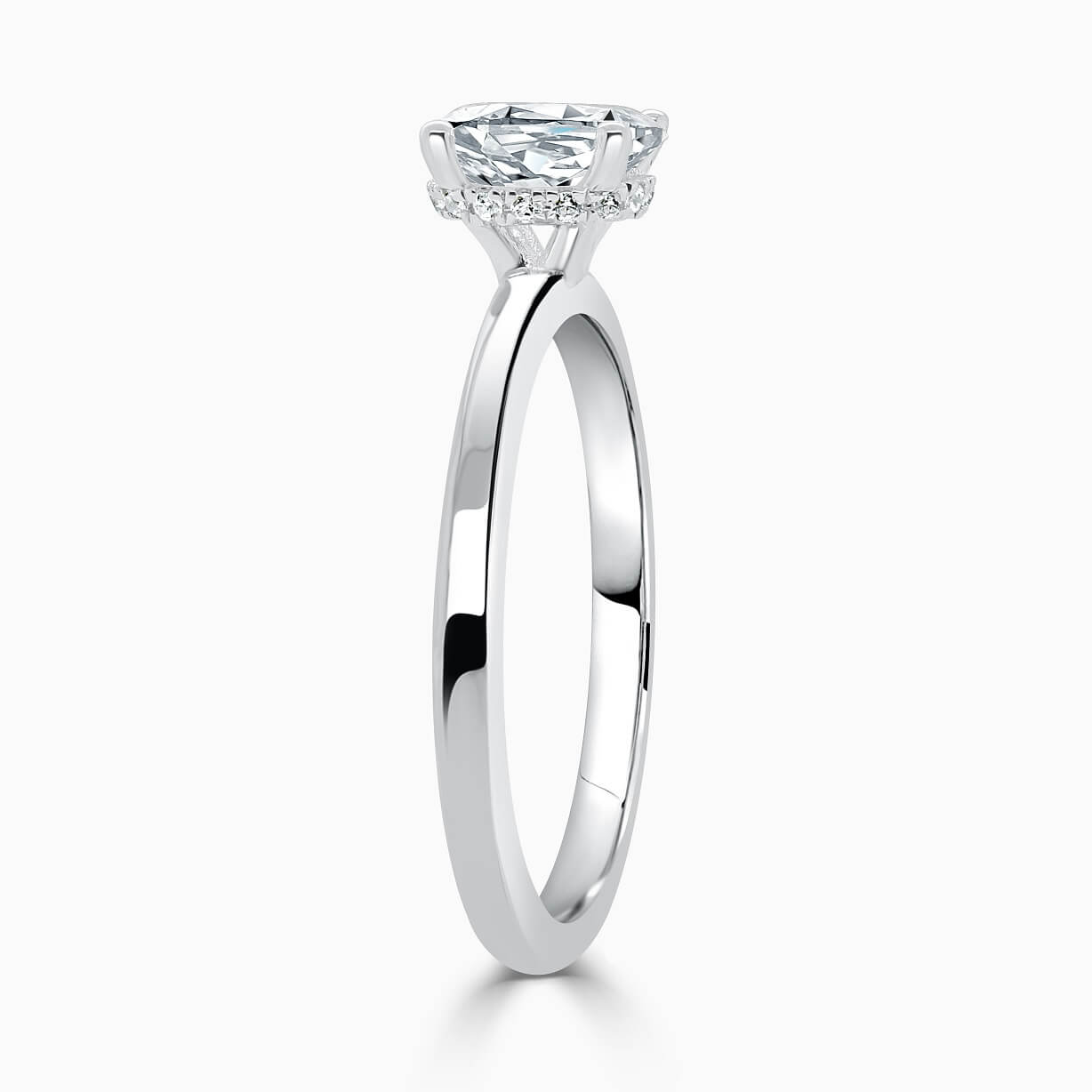 18ct White Gold Oval Shape Hidden Halo Engagement Ring