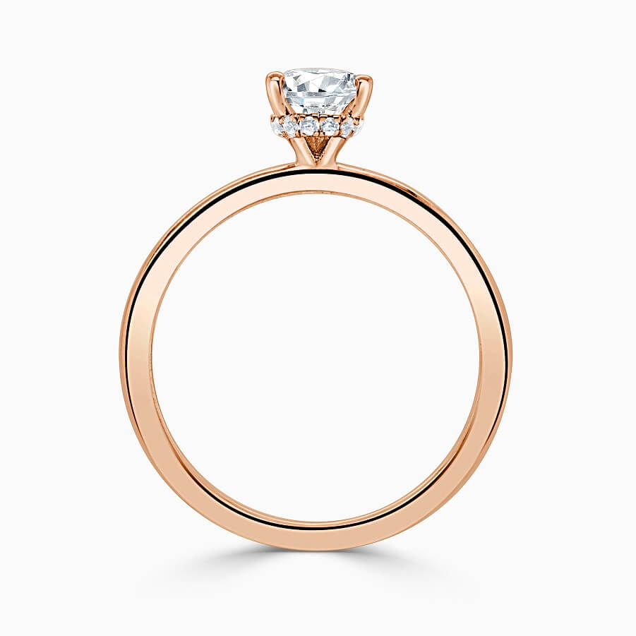 18ct Rose Gold Pear Shape Hidden Halo Engagement Ring