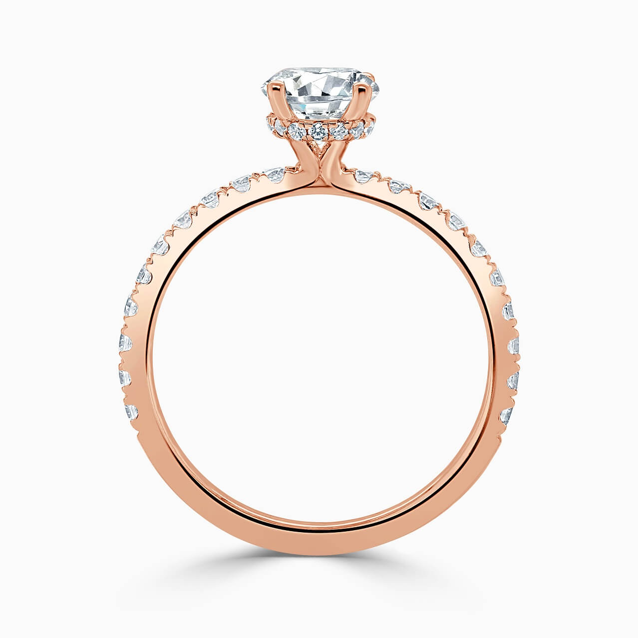 18ct Rose Gold Round Brilliant Hidden Halo With Cutdown Engagement Ring