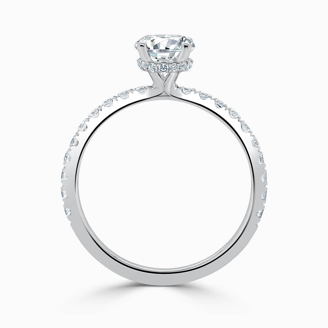 18ct White Gold Round Brilliant Hidden Halo With Cutdown Engagement Ring