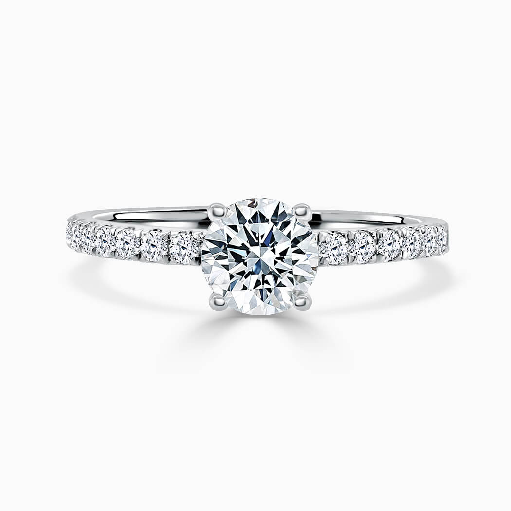 Platinum Round Brilliant Hidden Halo With Cutdown Engagement Ring