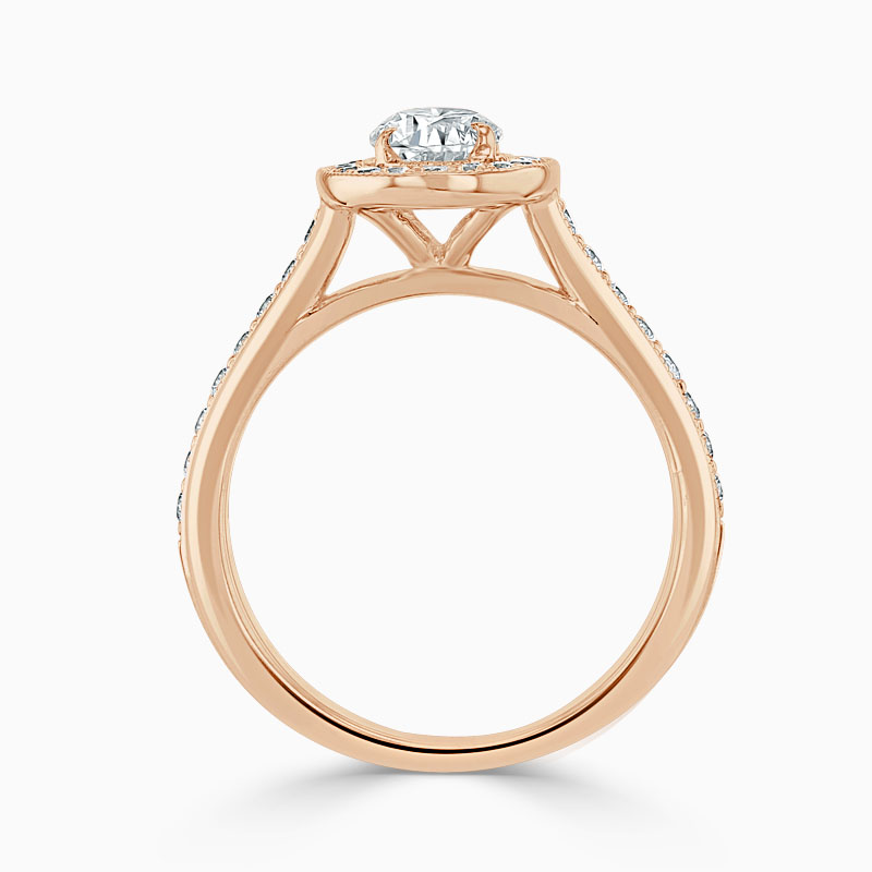 18ct Rose Gold Oval Shape Vintage Pavé Halo Engagement Ring