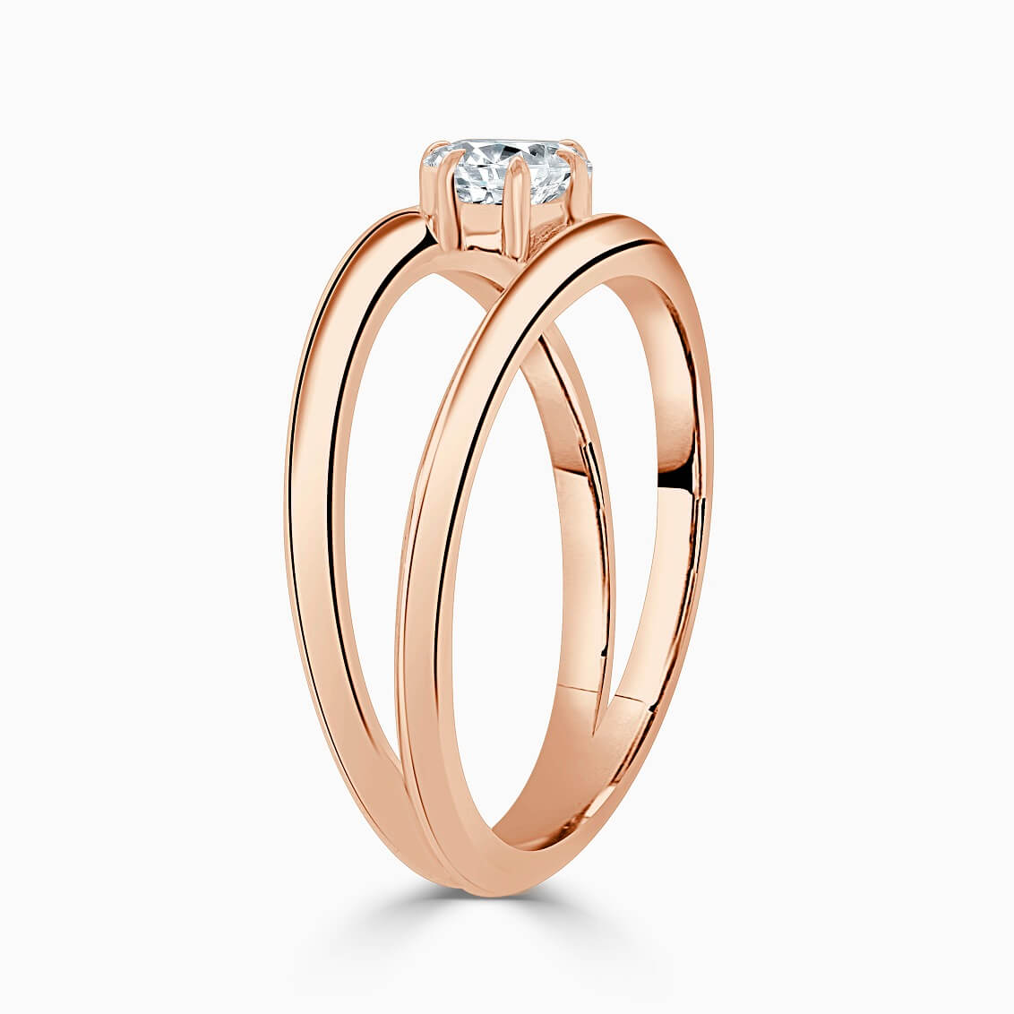 18ct Rose Gold Pear Shape 6 Claw With Double Band Engagement Ring