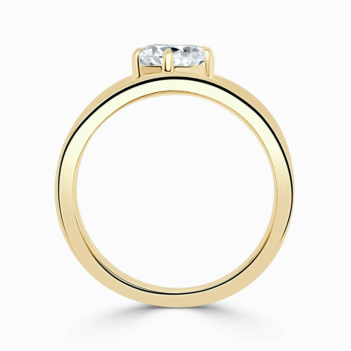 18ct Yellow Gold Pear Shape 6 Claw With Double Band Engagement Ring