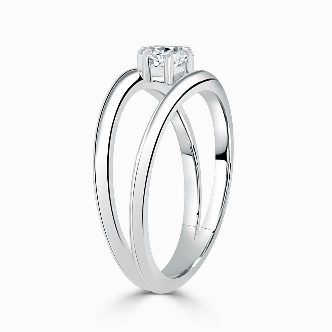 Platinum Pear Shape 6 Claw With Double Band Engagement Ring