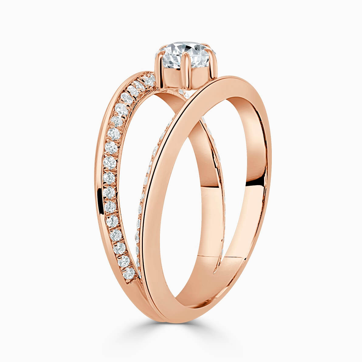 18ct Rose Gold Pear Shape 6 Claw With Double Pave Band Engagement Ring