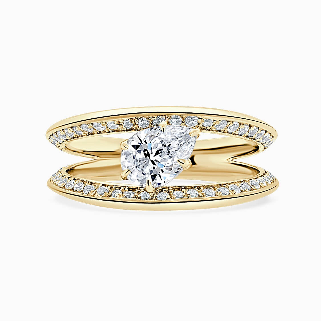 18ct Yellow Gold Pear Shape 6 Claw With Double Pave Band Engagement Ring