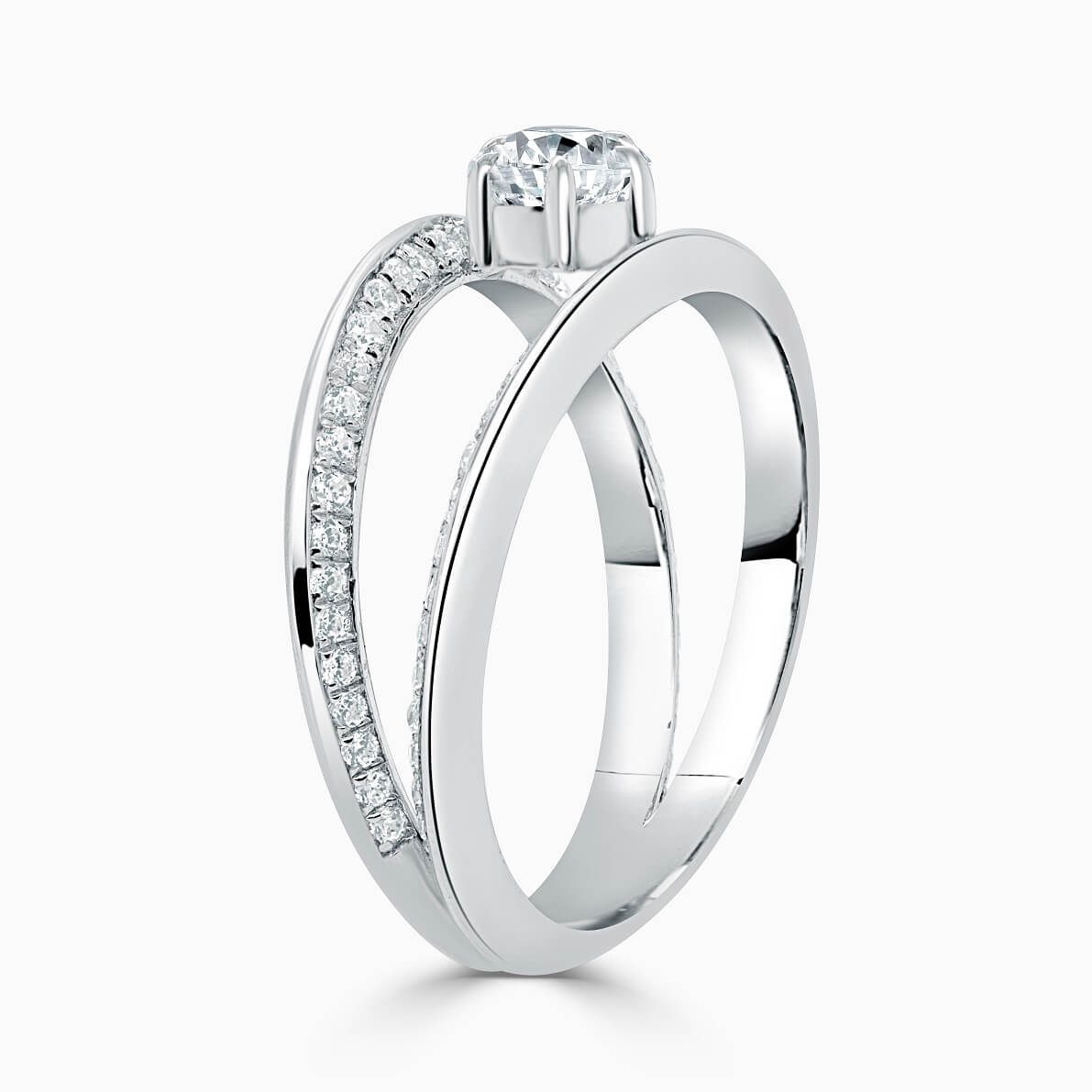 Platinum Pear Shape 6 Claw With Double Pave Band Engagement Ring