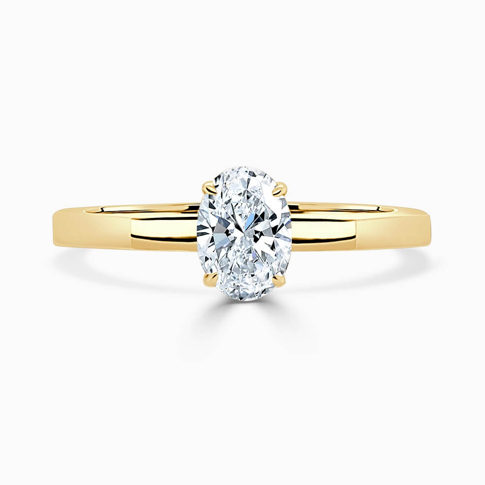 18ct Yellow Gold Oval Shape Geometric Engagement Ring