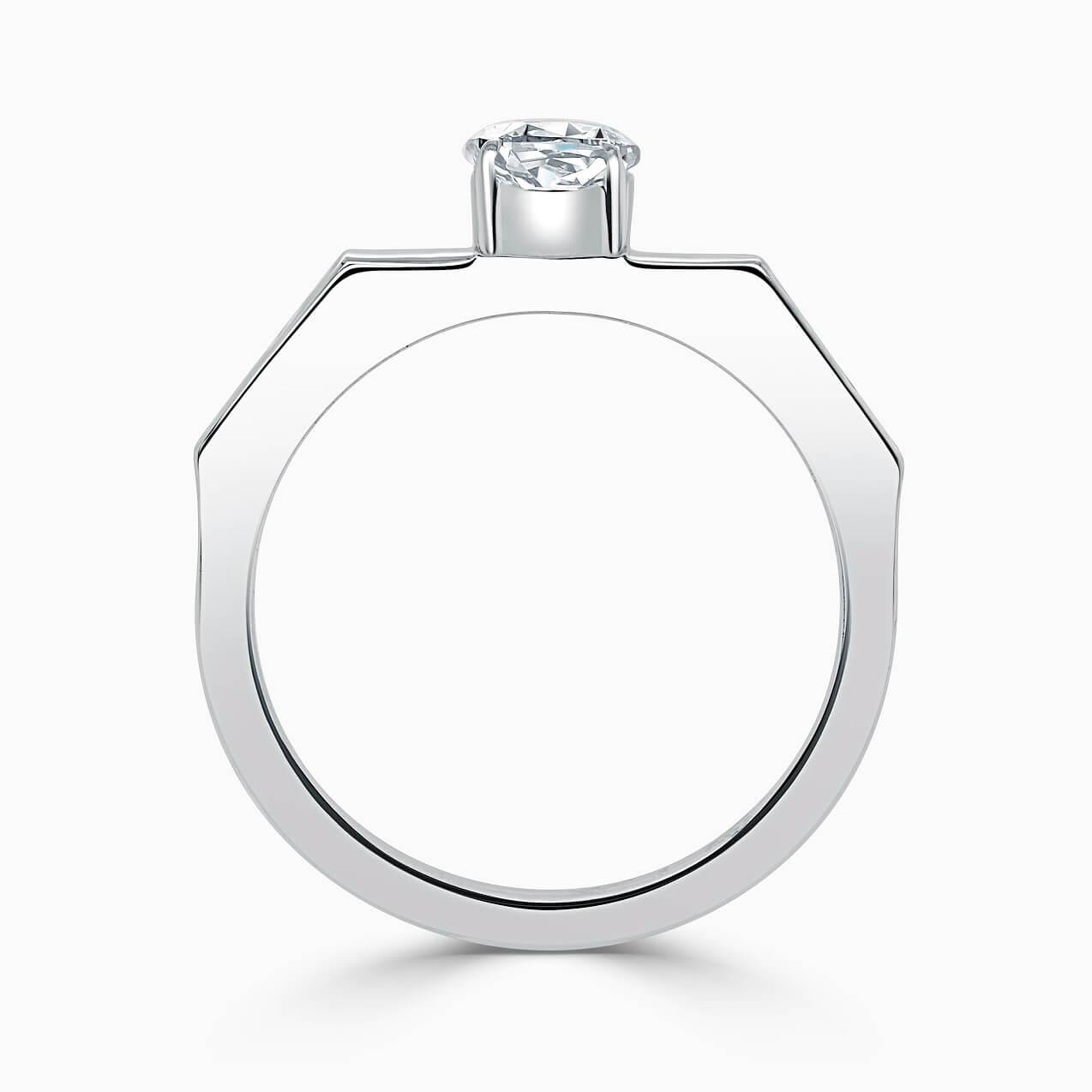 Platinum Oval Shape Geometric Engagement Ring