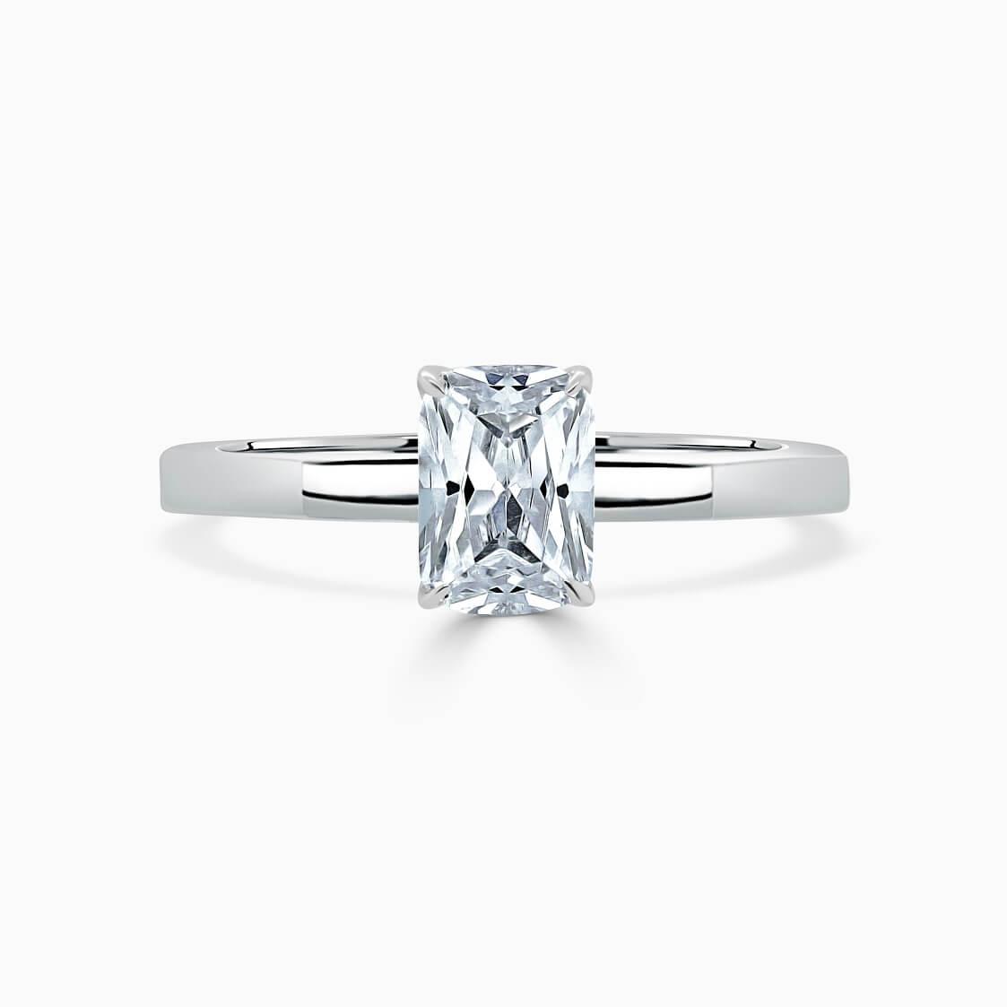18ct White Gold Radiant Cut Geometric Engagement Ring