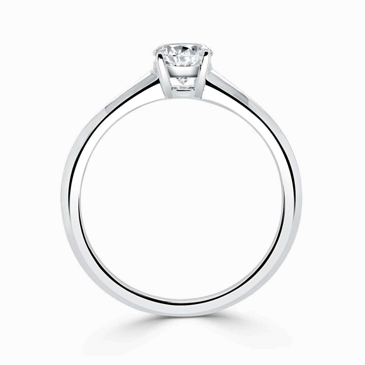 18ct White Gold Oval Shape Basket With Taper Engagement Ring